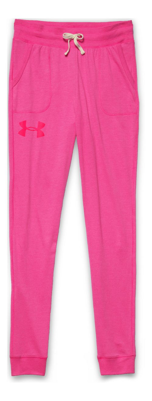 Womens Under Armour Charged Cotton Triblend Full Length Pants - Rebel Pink S