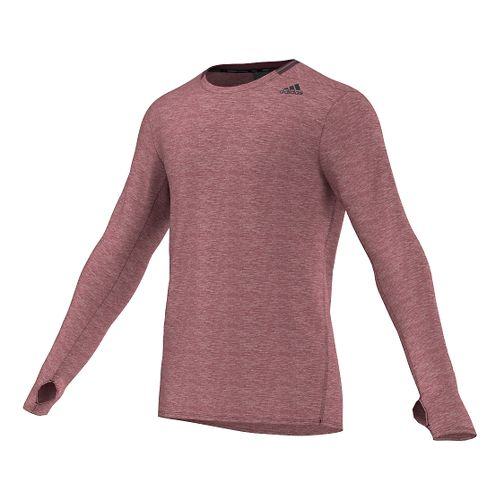 Mens Adidas Supernova Tee Long Sleeve No Zip Technical Tops - Maroon S