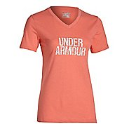 Womens Under Armour Charged Cotton Tri-Blend Wordmark V-Neck Short Sleeve Technical Tops