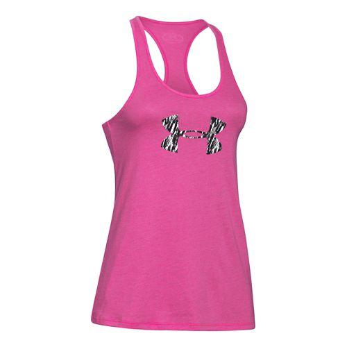 Womens Under Armour Logo Print Fill Tank Technical Tops - Rebel Pink/Black M