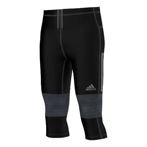 Mens adidas Supernova Three Quarter Tight Capri - Black/Solid Grey XL