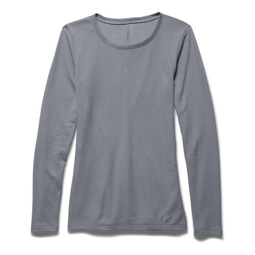 Womens Under Armour Cozy Waffle Long Sleeve No Zip Technical Tops - Steel M