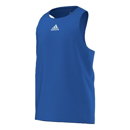 Mens adidas Sequencials Money Singlet Tank Technical Tops - Blue XL