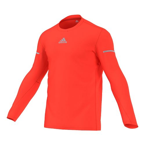 Mens adidas Sequencials Money Tee Long Sleeve No Zip Technical Tops - Solar Red S ...