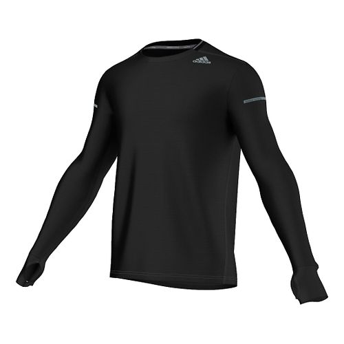 Mens adidas Sequencials Heathered Tee Long Sleeve No Zip Technical Tops - Black S