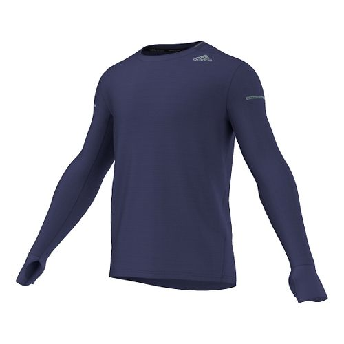 Mens adidas Sequencials Heathered Tee Long Sleeve No Zip Technical Tops - Midnight Indigo M ...