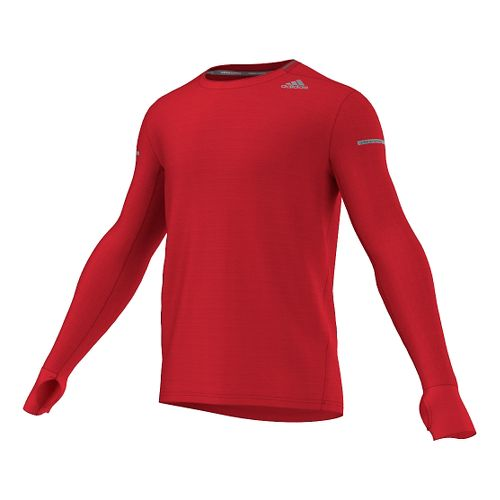 Mens adidas Sequencials Heathered Tee Long Sleeve No Zip Technical Tops - Vivid Red L ...