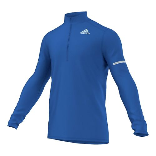 Mens adidas Sequencials CC Long Sleeve Half Zip Technical Tops - Blue S