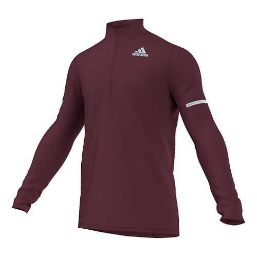 Mens adidas Sequencials CC Long Sleeve Half Zip Technical Tops - Maroon M