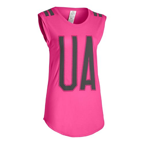 Womens Under Armour BFE Big UA Stripe Short Sleeve Technical Tops - Rebel Pink L ...