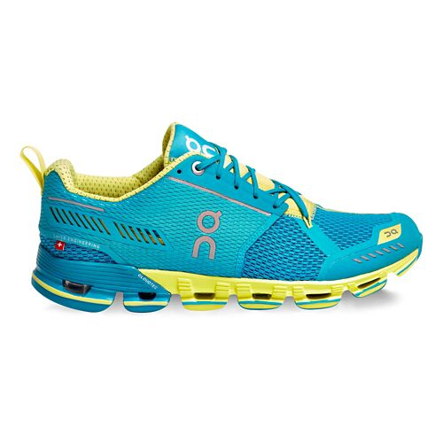 Womens On Cloudflyer Running Shoe - Aqua/Lemon 7.5