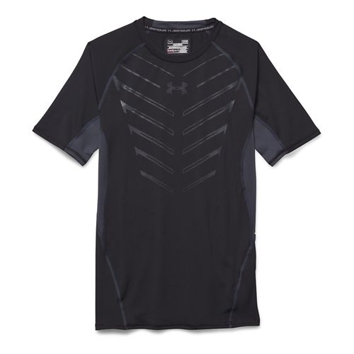 Mens Under Armour HeatGear EXO Compression Shirt Short Sleeve Technical Tops - Black/Grey 3XL