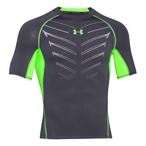 Mens Under Armour HeatGear EXO Compression Shirt Short Sleeve Technical Tops - Grey/Green 3XL