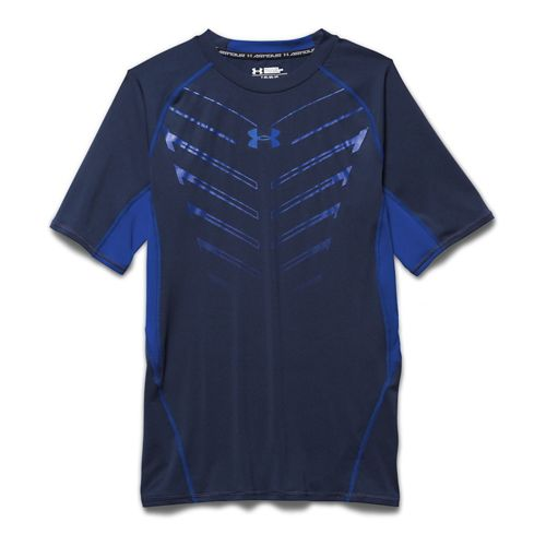 Mens Under Armour HeatGear EXO Compression Shirt Short Sleeve Technical Tops - Academy/Cobalt S