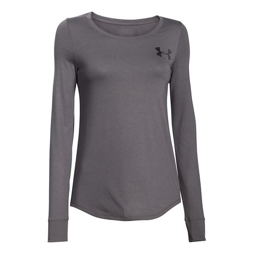 Womens Under Armour Stripe Wordmark Crew Long Sleeve No Zip Technical Tops - Graphite/Black XS ...