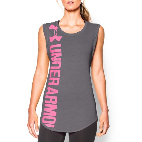 Womens Under Armour Vertical Logo Tunic Short Sleeve Technical Tops - Graphite/Pink XS