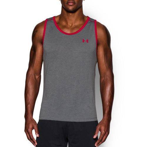 Mens Under Armour Tech Sleeveless & Tank Technical Tops - Graphite/Red XL