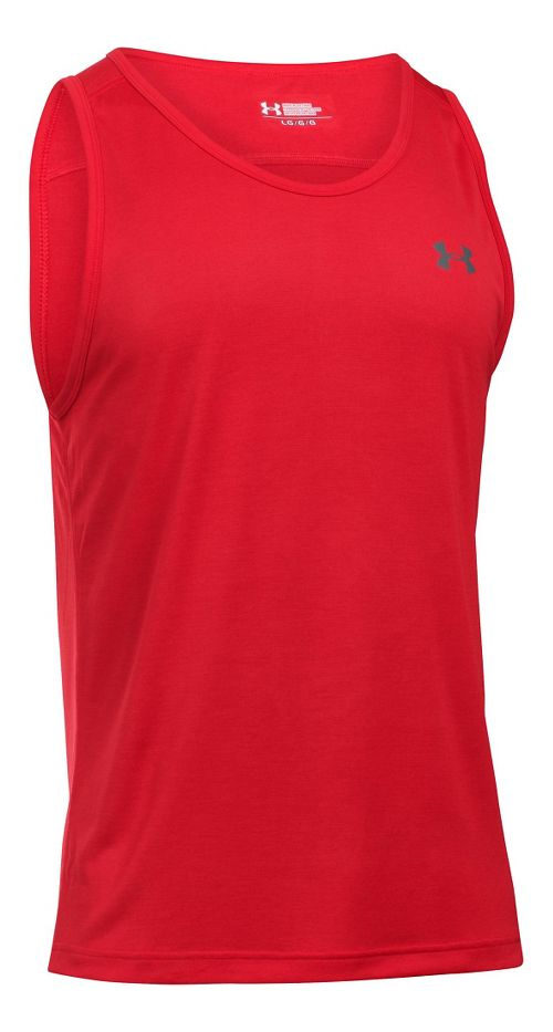 Mens Under Armour Tech Sleeveless & Tank Technical Tops - Red/Graphite M