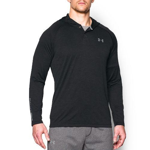 Mens Under Armour Tech Popover Henley Long Sleeve Technical Tops - Black/Steel S