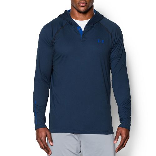 Mens Under Armour Tech Popover Henley Long Sleeve Technical Tops - Stealth Grey/Blue S