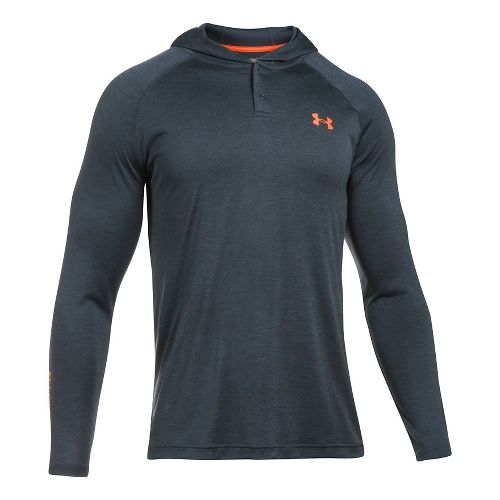 Mens Under Armour Tech Popover Henley Half-Zips & Hoodies Technical Tops - Carbon Heather/Black L