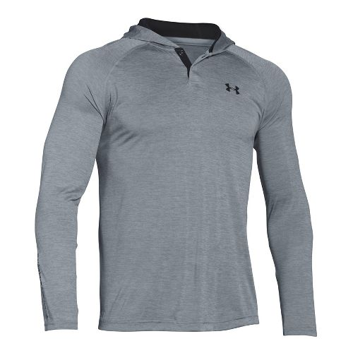 Mens Under Armour Tech Popover Henley Long Sleeve Technical Tops - Steel/Black M