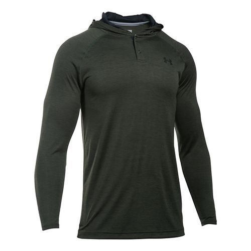 Mens Under Armour Tech Popover Henley Long Sleeve Technical Tops - Army Green/Black S