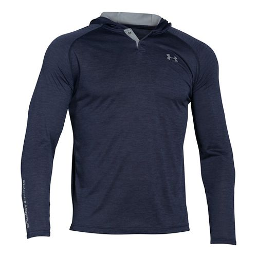 Mens Under Armour Tech Popover Henley Half-Zips & Hoodies Technical Tops - Midnight Navy M ...