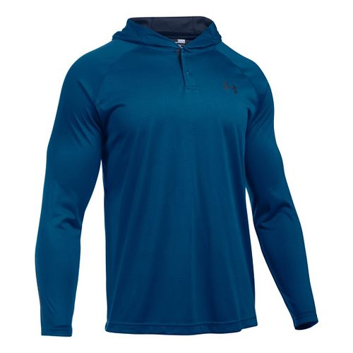 Mens Under Armour Tech Popover Henley Long Sleeve Technical Tops - Heron/Midnight Navy S