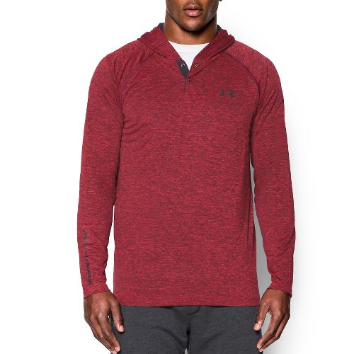 Mens Under Armour Tech Popover Henley Long Sleeve Technical Tops - Red XXL