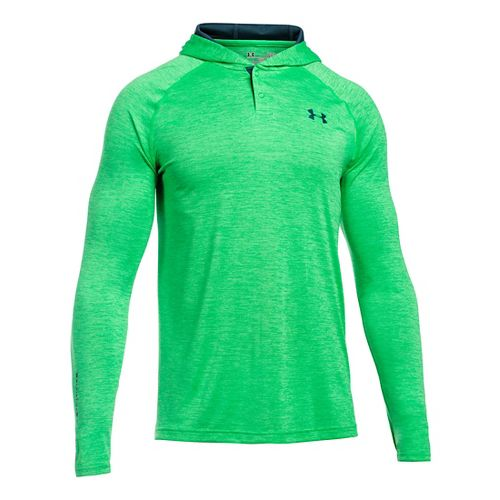 Mens Under Armour Tech Popover Henley Long Sleeve Technical Tops - Green/Nova Teal M