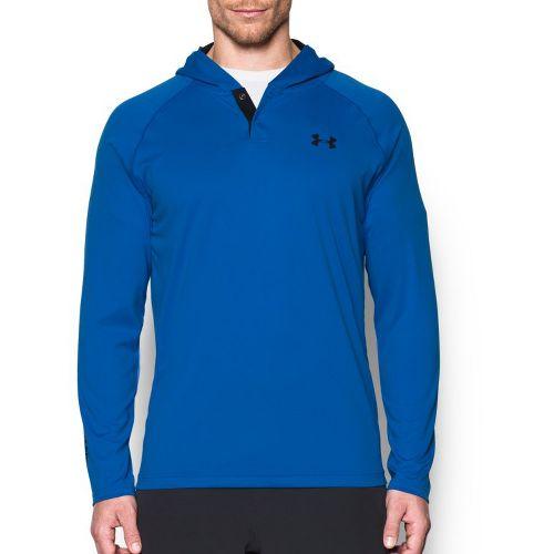 Mens Under Armour Tech Popover Henley Half-Zips & Hoodies Technical Tops - Blue Marker/Black XL ...