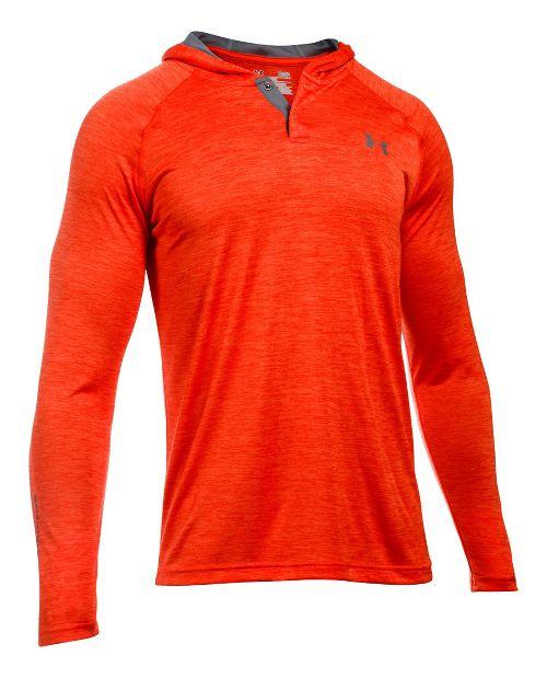 Mens Under Armour Tech Popover Henley Half-Zips & Hoodies Technical Tops - Dark Orange/Grey L