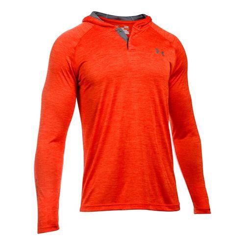 Mens Under Armour Tech Popover Henley Half-Zips & Hoodies Technical Tops - Dark Orange/Grey M ...