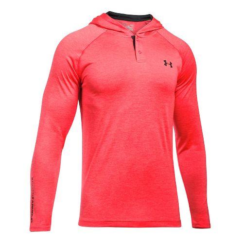 Mens Under Armour Tech Popover Henley Half-Zips & Hoodies Technical Tops - Marathon Red/Grey XXL-T