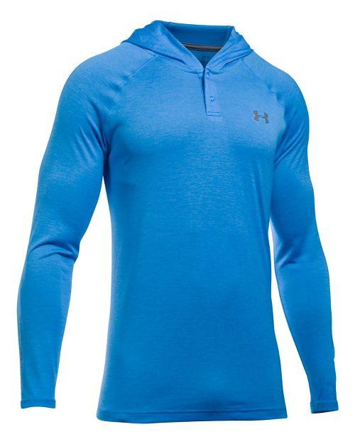 Mens Under Armour Tech Popover Henley Half-Zips & Hoodies Technical Tops - Marathon Red/Grey XL