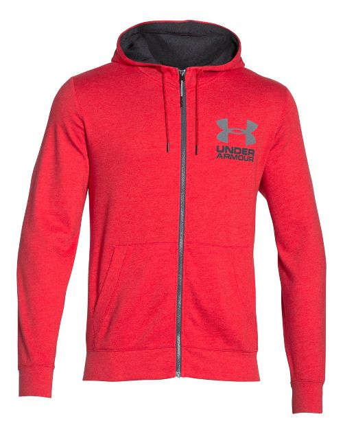 Mens Under Armour Tri-Blend Fleece Full Zip Hoody Long Sleeve Technical Tops - Red L