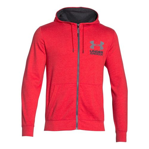 Mens Under Armour Tri-Blend Fleece Full Zip Hoody Long Sleeve Technical Tops - Red M