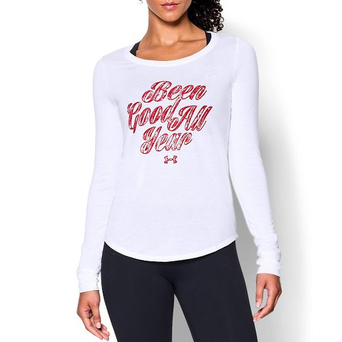 Womens Under Armour Been Good Long Sleeve Technical Tops - White/Regal Red XS