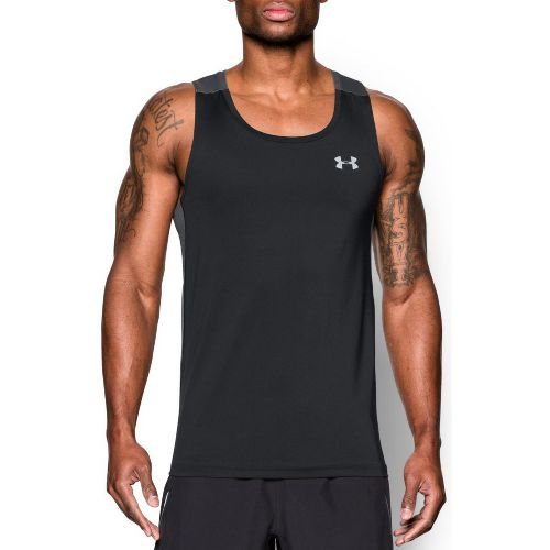 Mens Under Armour Coolswitch Run Singlet Sleeveless & Tank Technical Tops - Black/Graphite M