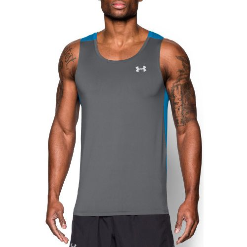 Mens Under Armour Coolswitch Run Singlet Sleeveless & Tank Technical Tops - Graphite/Blue L