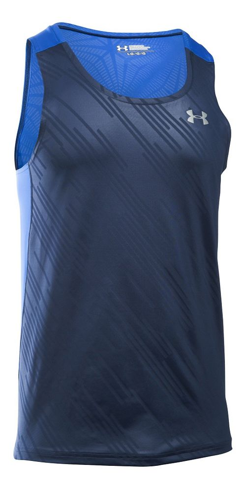 Mens Under Armour Coolswitch Run Singlet Sleeveless & Tank Technical Tops - Navy/Ultra Blue L