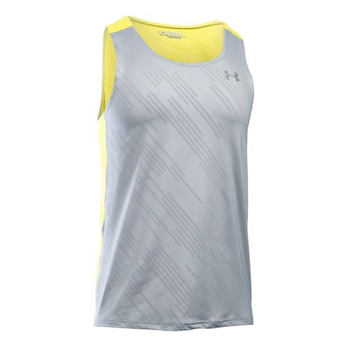 Mens Under Armour Coolswitch Run Singlet Sleeveless & Tank Technical Tops - Grey/Flash Light XXL