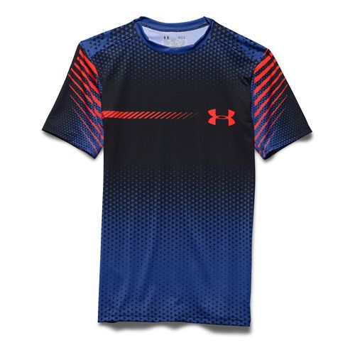 Mens Under Armour HeatGear Branded Compression Shirt Short Sleeve Technical Tops - Black/Orange M
