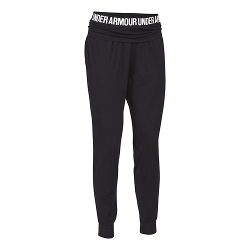 Womens Under Armour Downtown Knit Jogger Pants - Black/Silver XL