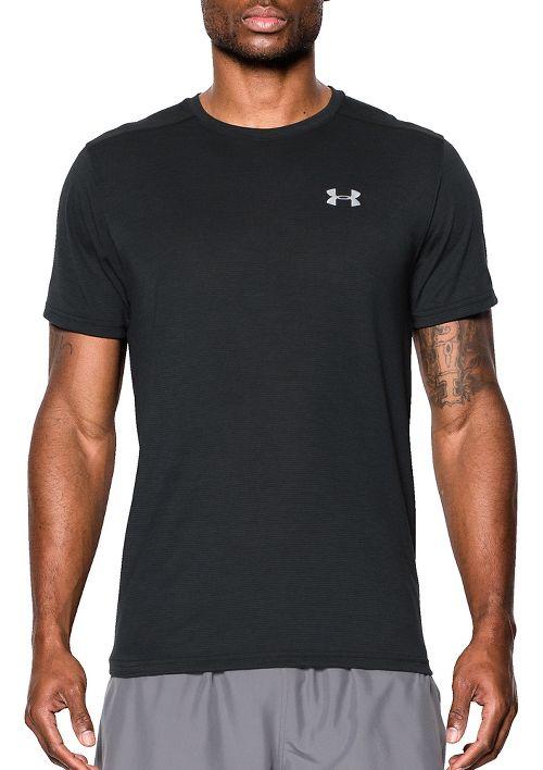 Mens Under Armour Threadborne Streaker Short Sleeve Technical Tops - Black XXL