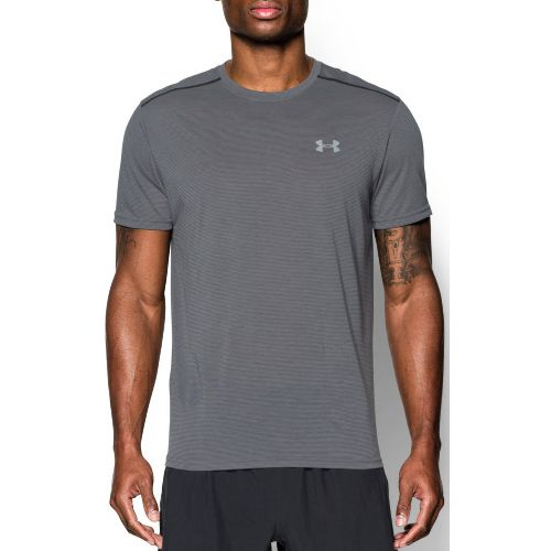 Mens Under Armour Threadborne Streaker Short Sleeve Technical Tops - Graphite/Steel S