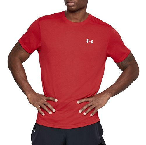 Mens Under Armour Threadborne Streaker Short Sleeve Technical Tops - Pierce Red S