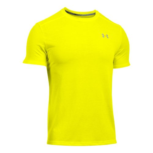 Mens Under Armour Threadborne Streaker Short Sleeve Technical Tops - Yellow Ray 3XL