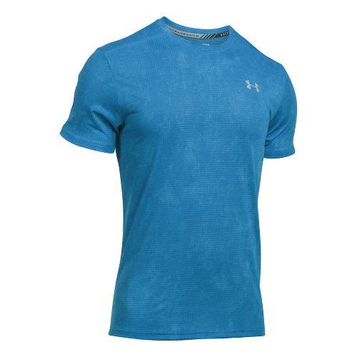 Mens Under Armour Threadborne Streaker Short Sleeve Technical Tops - Brilliant Blue M